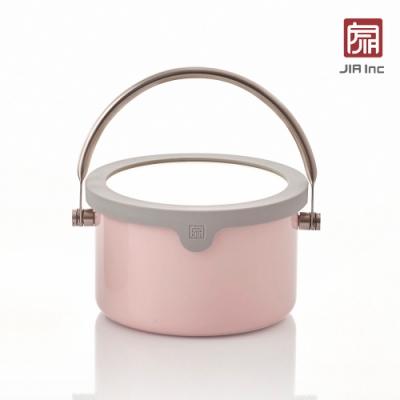 JIA Inc. 品家家品 虹彩鋼 琺瑯便當提鍋16cm-粉色