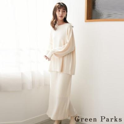 Green Parks 【SET ITEM】螺紋針織開叉上衣+針織長裙