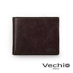 VECHIO - 經典商務男仕系列-8卡中翻零錢袋皮夾 - 棕