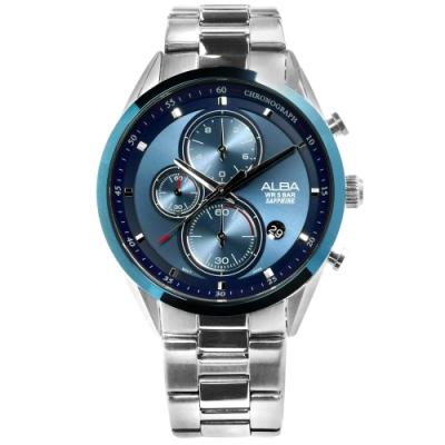 ALBA 日期顯示三眼計時藍寶石水晶玻璃防水不鏽鋼手錶-藍色/43mm