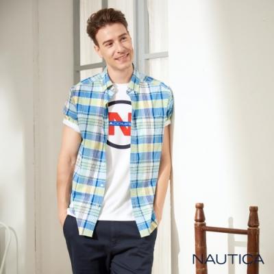 Nautica經典多彩格紋短袖襯衫-藍綠格