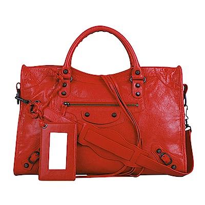 BALENCIAGA 巴黎世家 City亮小釦軟式羊皮手提肩背機車包(紅) @ Y!購物