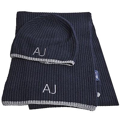ARMANI JEANS 義大利製AJ字母品牌LOGO喀什米爾混羊毛造型毛帽圍巾組(深藍)
