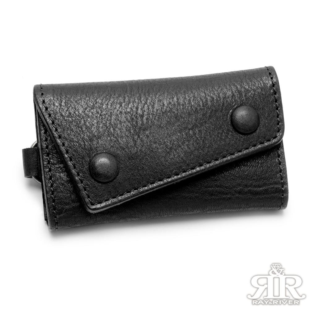 2R 植鞣樹羔牛皮 Leather 復古雙釦鑰匙包 百搭沉黑
