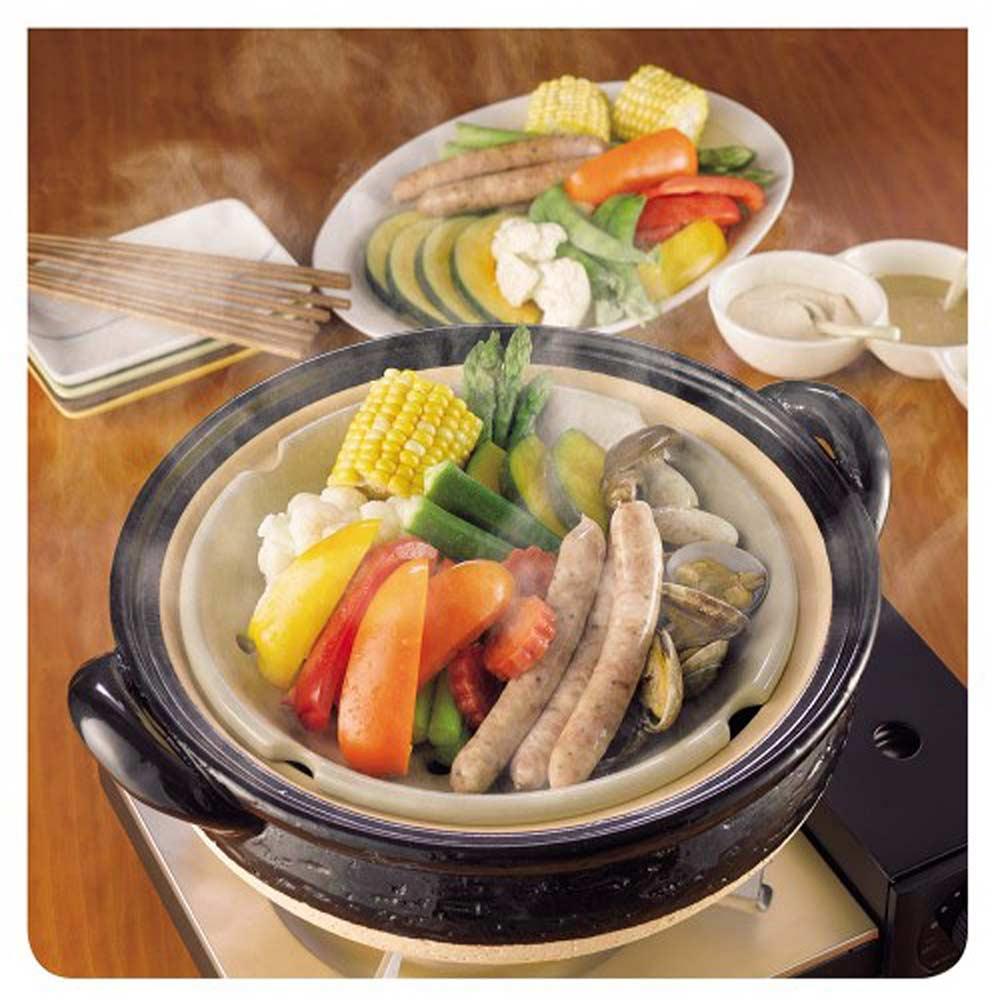 長谷園伊賀燒-冷熱料理兩用-遠紅外線健康蒸鍋(2-3人份)