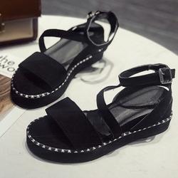KEITH-WILL時尚鞋館 年度精選俐落美感厚底涼鞋 黑