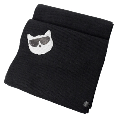 KARL LAGERFELD 貓咪亮片造型針織圍巾(黑)