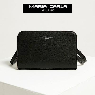 【Maria Carla】墨黑_鏈鏈式手機皮夾側背包_日光休閒_二層牛皮