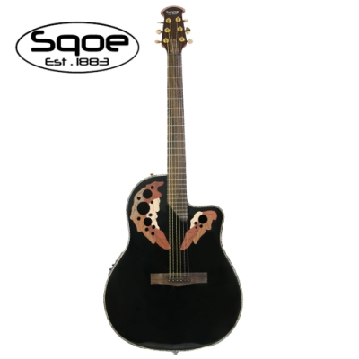 SQOE CE44P BK 民謠電木吉他 圓背葡萄響孔黑色款