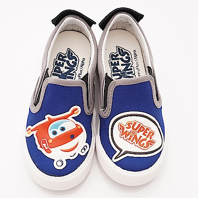 SUPER WINGS 不對稱休閒帆布鞋款 EI3660藍(中小童段)
