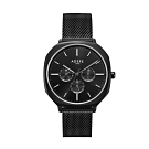ADEXE 英國手錶 SQUARE三眼系列 黑色米蘭錶帶方形錶框42mm