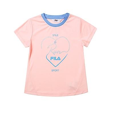 FILA KIDS 童抗UV吸濕排汗上衣-粉5TET-4315-PK