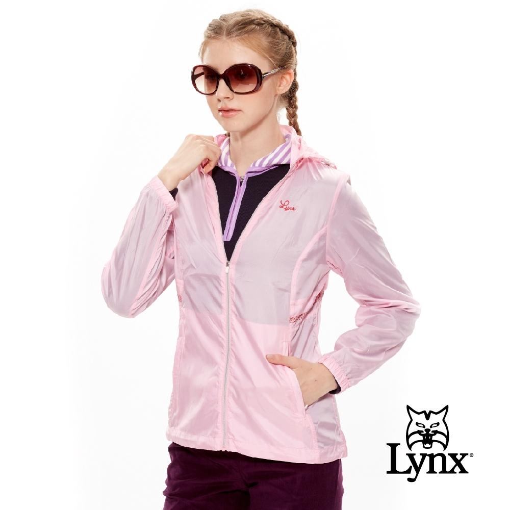 【Lynx Golf】女款防風抗UV輕薄可拆式帽子長袖外套-粉色