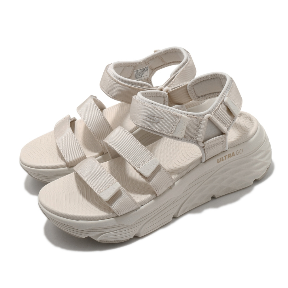 Skechers 涼鞋 Max Cushioning-Lured 女鞋 加厚中底 避震 緩衝 魔鬼氈 回彈 淺褐 灰 140218NAT