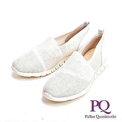 PQ MIT異材質透氣彈力休閒 女鞋-白(另有桃紅)