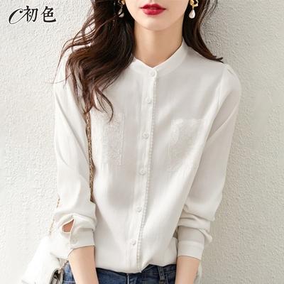 初色  氣質刺繡小立領襯衫-白色-(M-2XL可選)