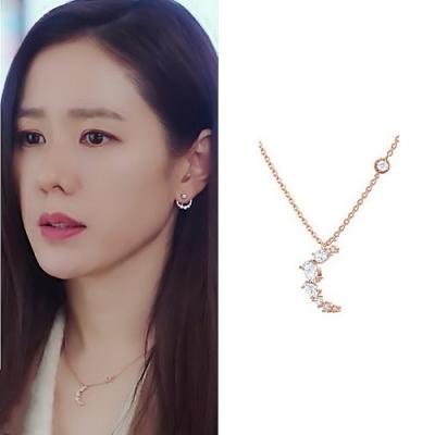 梨花HaNA 韓國925銀愛的迫降全水晶鑽月牙玫瑰金鎖骨鍊
