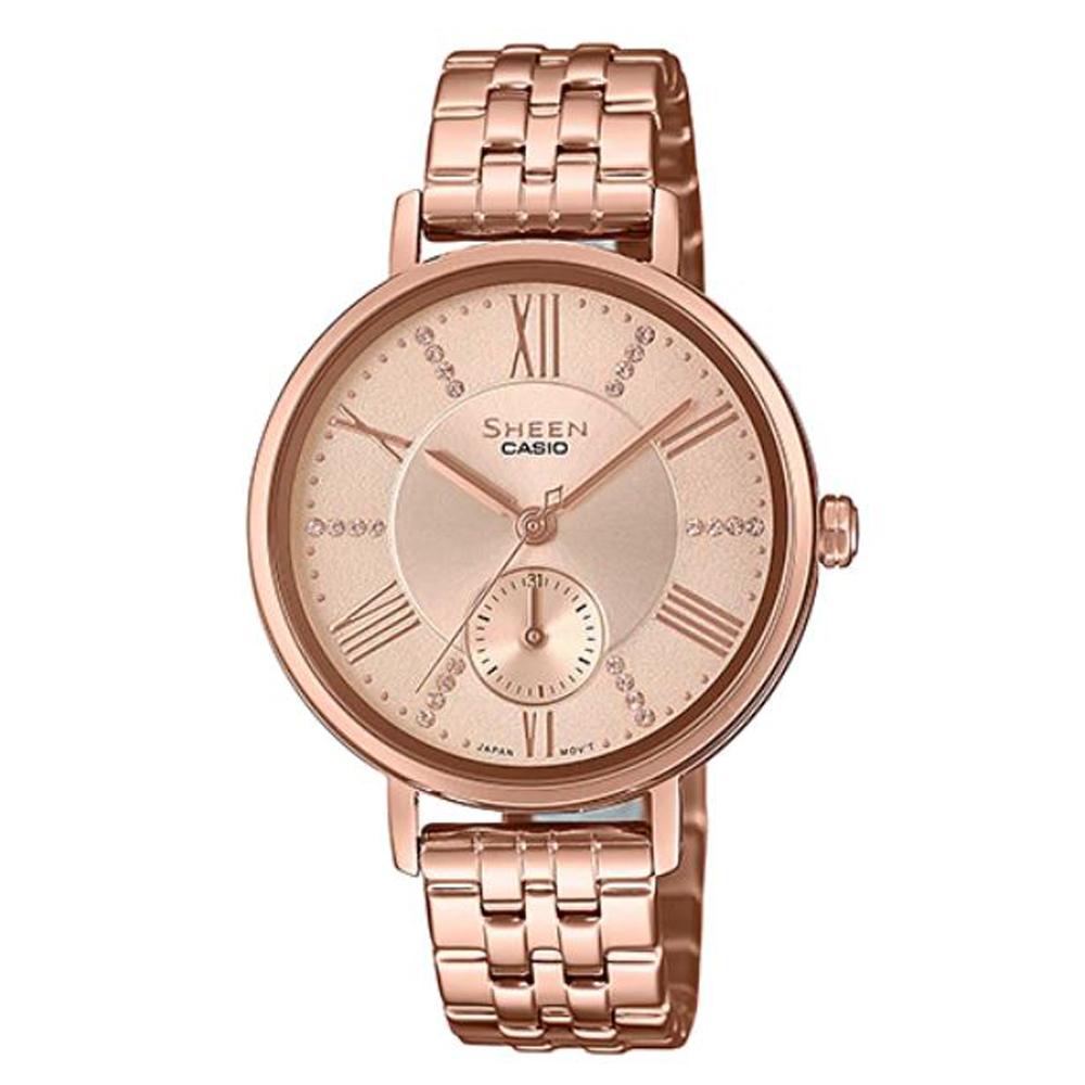 SHEEN 耀眼微光閃耀女神不鏽鋼腕錶-粉面(SHE-3066PG-4A)/41mm