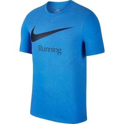 NIKE 短袖上衣 休閒 運動 跑步  藍  男款 CK0638402 AS M NK DRY RUN HBR