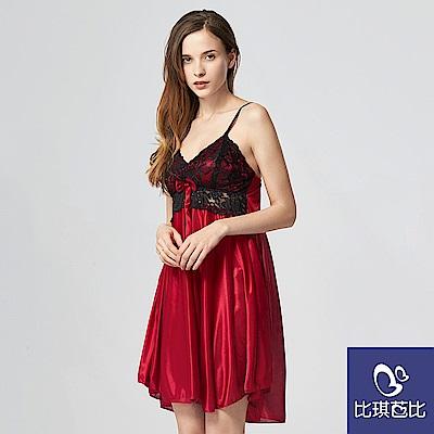 法式高雅 經典柔緞蕾絲睡衣 (酒紅-F)