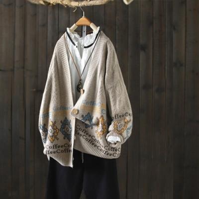 優雅素淨精緻提花針織衫毛衣寬鬆外穿開衫v領上衣-設計所在