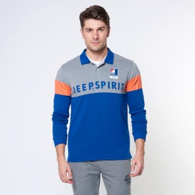 JEEP 撞色拼接修身長袖針織POLO衫 -藍色