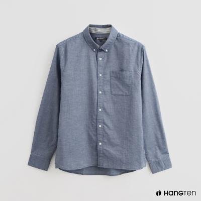 Hang Ten - 男裝 - 配色條紋潮流印花襯衫 - 深藍