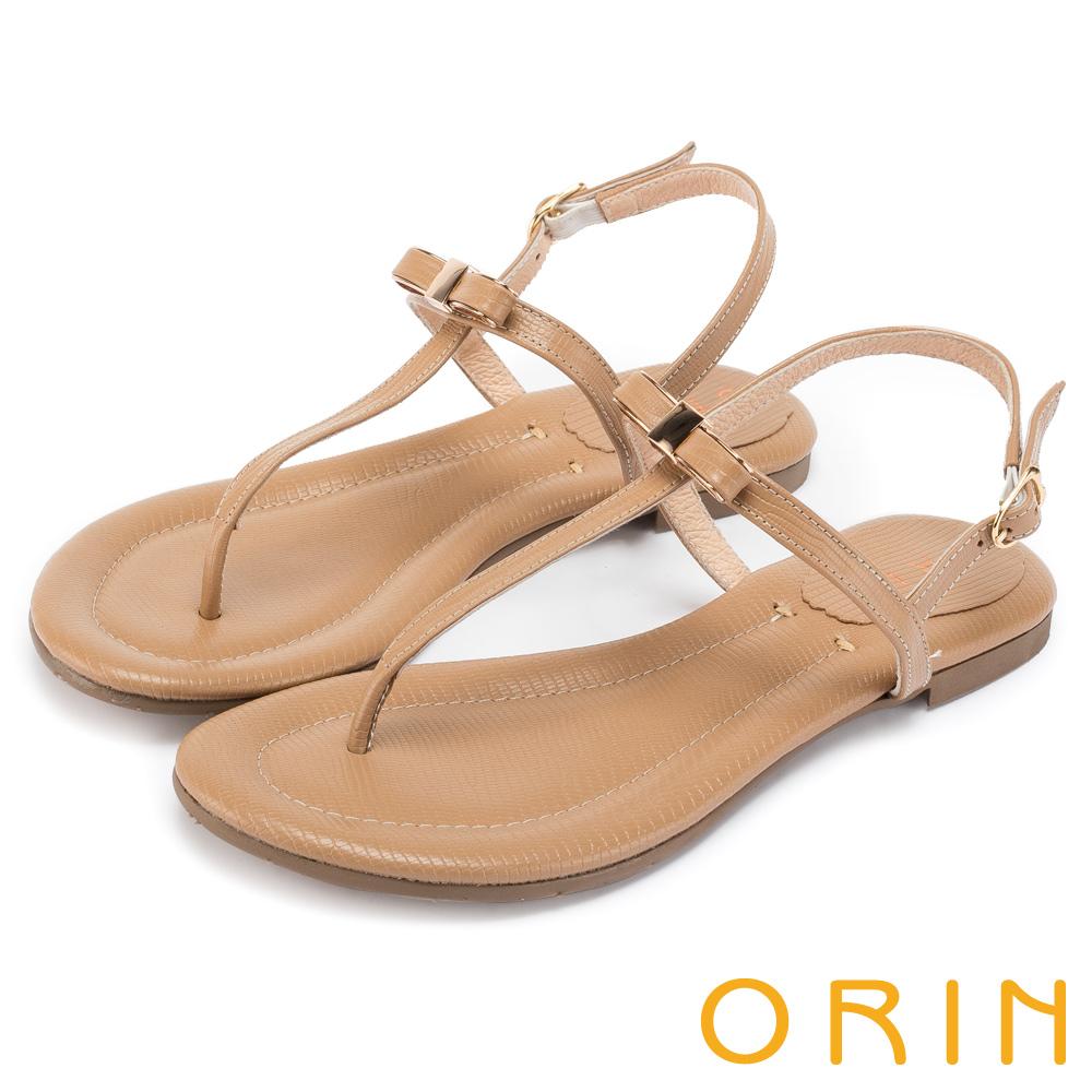 ORIN 細緻典雅T字牛皮夾腳平底 女 涼鞋 棕色