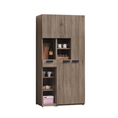 柏蒂家居-麥卡倫工業風3尺四門一抽收納餐櫃/玄關櫃組合-90x40x180cm