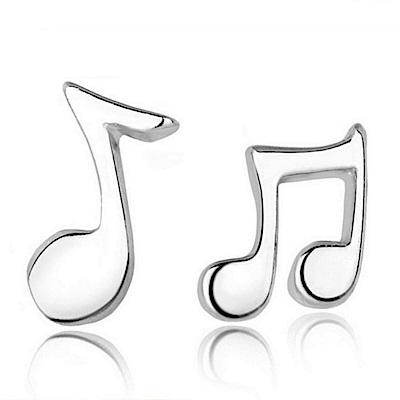 米蘭精品 925純銀耳環-不對稱音符耳環