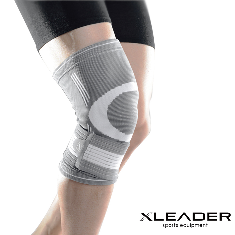 Leader X 運動防護 繃帶加壓可調護膝 灰白 單只入