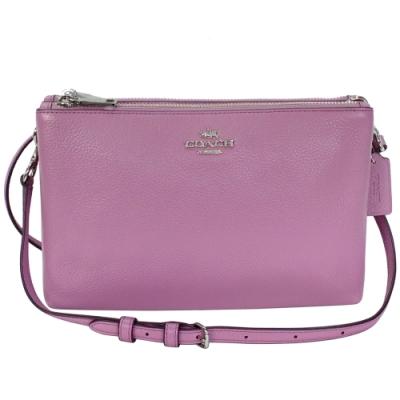 COACH粉紫色荔枝紋全皮拉鍊雙層手抓/斜背小包