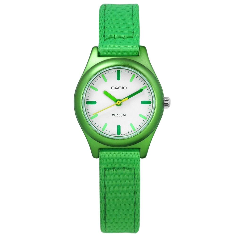 CASIO 卡西歐 繽紛復刻金屬光澤尼龍手錶-白x綠/26mm