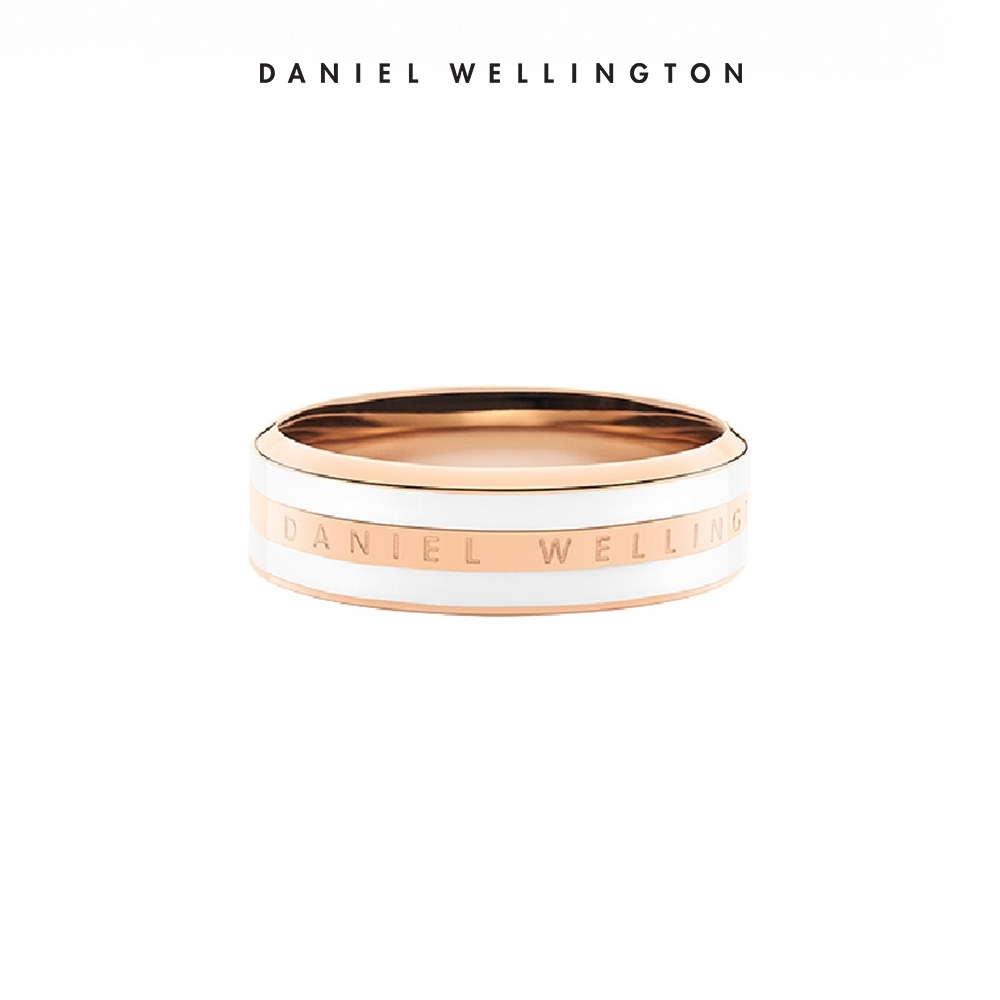 【Daniel Wellington】 官方直營 Classic Ring 時尚奢華戒指-玫瑰金x白 DW戒指