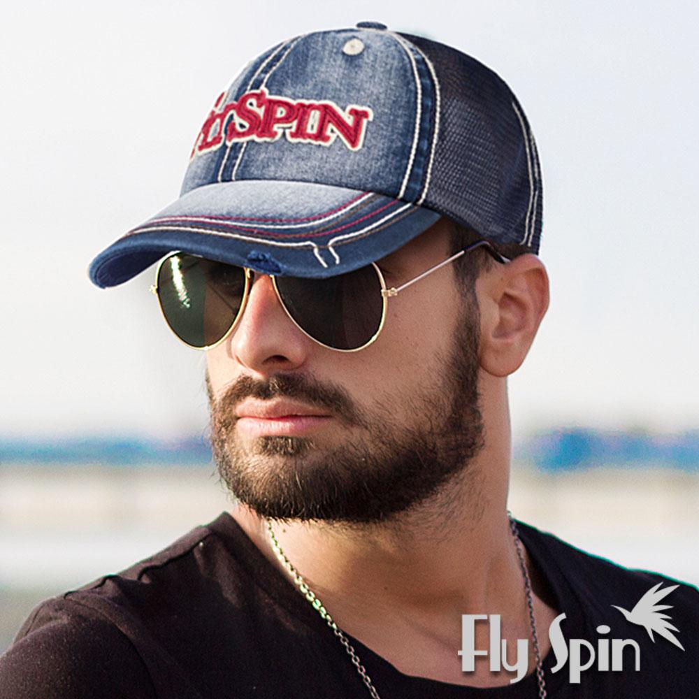 FLYSPIN 復古仿牛仔全棉網眼透氣運動棒球帽