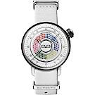 BOMBERG 炸彈錶 BB-01 系列石英晶鑽女錶-多色晶鑽x白錶帶/38mm