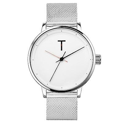 TYLOR Dank 簡約質感米蘭帶手錶-白X銀/40mm