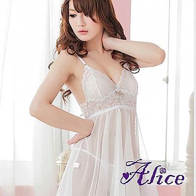 Alice高檔白色歐美惑套裝下垂文胸鋼托聚攏胸罩騷極度性感睡衣(AK052)
