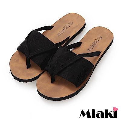 Miaki-拖鞋休閒輕便韓風涼拖-黑色