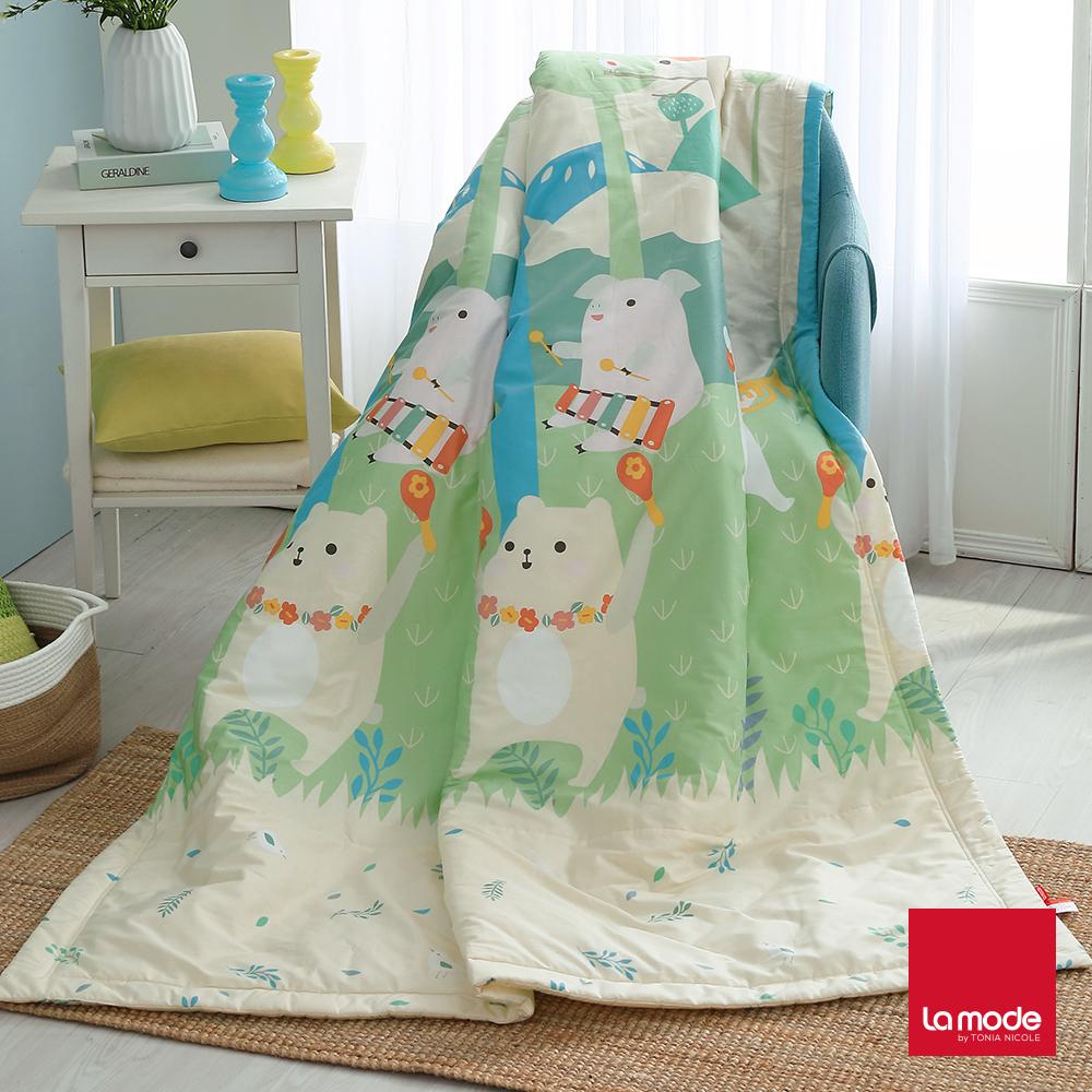 La Mode寢飾 森林音樂會環保印染100%精梳純棉涼被(單人) @ Y!購物
