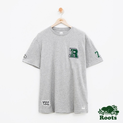 男裝Roots 徽章短袖T恤-灰色