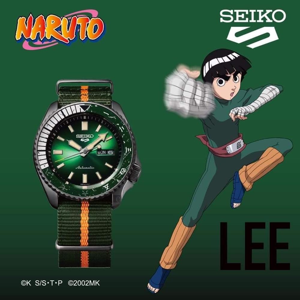SEIKO 精工 5 Sports x 火影忍者 小李 李洛克 聯名限量機械錶(SRPF73K1/4R36-09H0G)-42.5mm