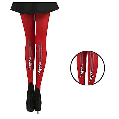 摩達客 英國進口義大利製Pamela Mann 貓抓牆降落圖紋紅色彈性褲襪