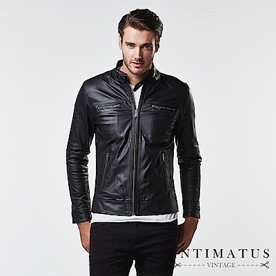 INTIMATUS 真皮 簡約騎士風基本款小羊皮皮衣 帥氣黑