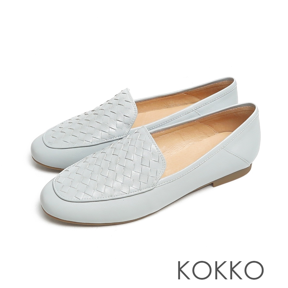 KOKKO無著感編織格紋牛皮彎折懶人平底休閒鞋法式藍