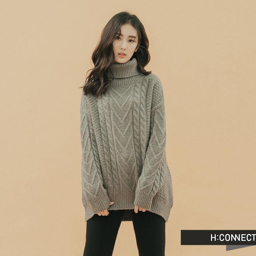 H:CONNECT 韓國品牌 女裝 - 高領麻花針織上衣 - 灰