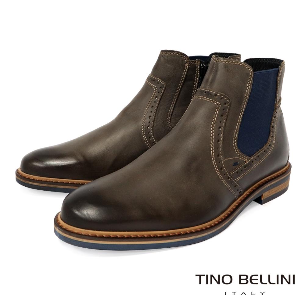 TINO BELLINI 男款英式雕花牛皮切爾西靴-咖啡