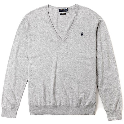Polo Rlaph Lauren 經典刺繡小馬V領針織棉質毛衣(女)-灰色