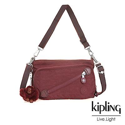 Kipling 斜背包 胭脂酒紅素面-小