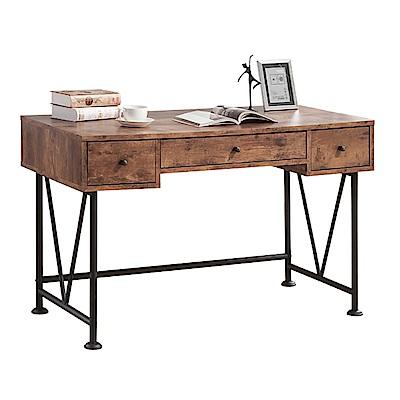 品家居 巴比萊4尺木紋三抽書桌-120x60x77cm免組